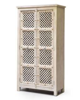 Šatníková skriňa z mangového dreva, ručné rezby, 97x45x185cm