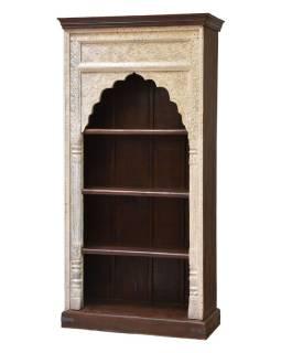 Knižnica z mangového dreva, ručné rezby, 93x46x195cm