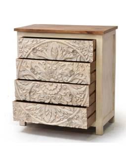 Komoda z mangového dreva, ručne vyrezávané šuplíky, 83x43x90cm