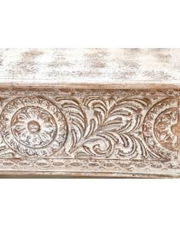Truhla z teakového dreva, zdobená ručnými rezbami, 117x40x49cm