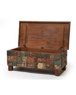 Stará drevená truhla z teakového dreva, ručné rezby, 120x60x46cm