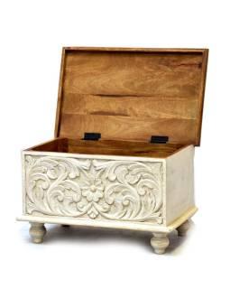 Truhla z teakového dreva, biela patina, 58x36x36cm