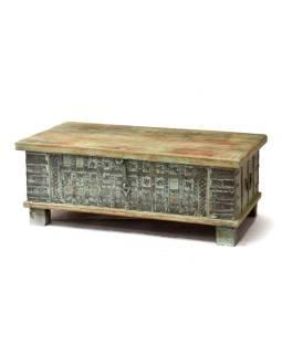 Truhla z teakového dreva, zelená patina, 120x62x46cm