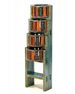 Stojan na kvety z mangového dreva, ručne maľovaný, skladacie, 25x22x77cm