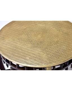 Stolček a 4 stoličky z palisandrového dreva zdobené mosadzou