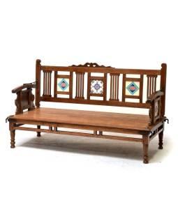 Lavička z teakového dreva zdobená keramickými dlaždicami, 141x60x83cm