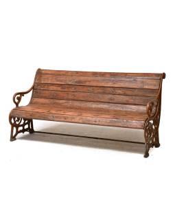 Lavička z teakového dreva a liatiny, 160x67x80cm