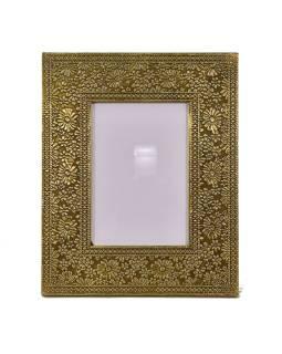 Drevený rámik na fotografiu, mosadzné kovania, 23x28cm