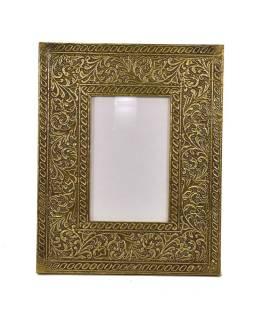 Drevený rámik na fotografiu, mosadzné kovania, 20x1x26cm