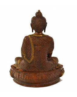 Budha Šákjamúni, mosadzná soška, medená patina, 30x23x39cm