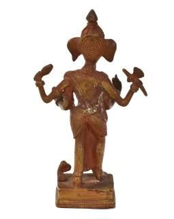 Stojaci Ganéša, mosadzná soška, medená patina, 10x4x18cm