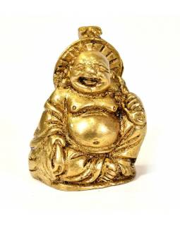 Smejúci sa Buddha, mosadzná soška, zlatá úprava, 4cm