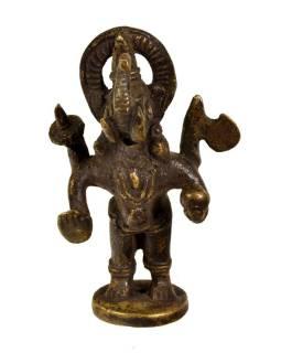 Ganéša, mosadzná soška, tribal art, 8cm