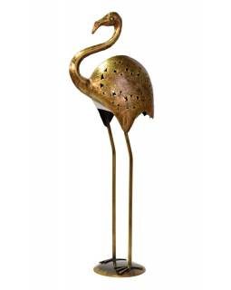 Svietnik v tvare plameniaka, kov, mosadzná patina, 30x14x75cm
