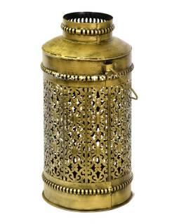 Svetelná váza, kovová ručne tepaná, mosadzná patina, 23x23x45cm