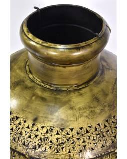 Svetelná váza, kovová, ručne tepaná, mosadzná patina, 40x40x60cm