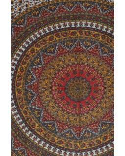 Posteľná prikrývka, Mandala so slonmi, červený 210x227cm