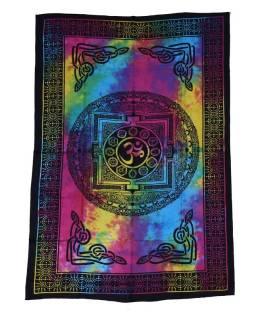 Prikrývka cez posteľ s tibetskou mandalou, farebná batika, 140x200cm