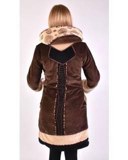 Hnedo-béžový zamatový kabátik s kapucňou, patchwork a Chakra tlač