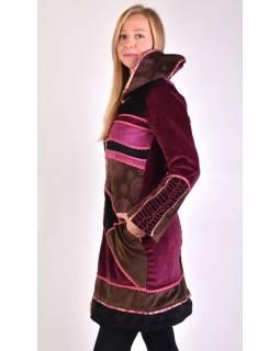 Ružovo-hnedý zamatový kabátik s kapucňou, patchwork a Chakra tlač