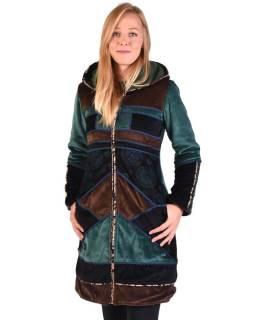 Smaragdový-hnedý zamatový kabátik s kapucňou, patchwork a Chakra tlač