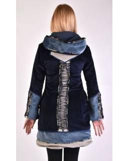 Modro-šedý zamatový kabátik s kapucňou, patchwork a Chakra tlač
