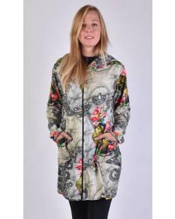 Kabát s kapucňou, zapínaný na zips, potlač papagájov a kvetín