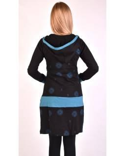 Mikinové šaty, dlhý rukáv, čierno-modré s kapucňou, vreckom a potlačou