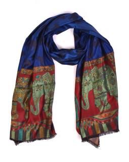 Veľká šál s motívom slonov, modrá, 70x180cm