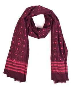 Šál, bavlna, farbené prírodnými farbami, ružovo-fialový, bodky 70x180cm