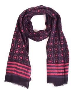 Šál, bavlna, farbené prírodnými farbami, ružovo-modrý, bodky 70x180cm