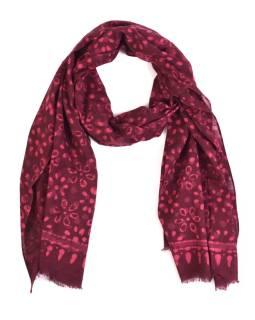 Šál, bavlna, farbené prírodnými farbami, ružovo-fialový, kvety 70x180cm