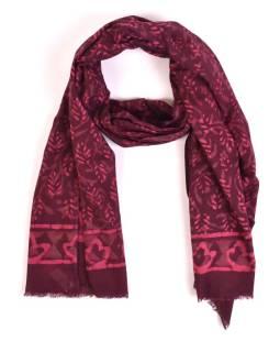 Šál, bavlna, farbené prírodnými farbami, ružovo-fialový, lístky 70x180cm
