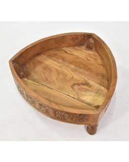 Stolík z mangového dreva, ručne vyrezávaný, 45x45x18cm