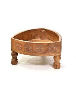 Stolík z mangového dreva, ručne vyrezávaný, 30x30x18cm