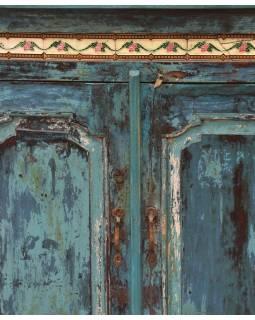 Skriňa z teakového dreva zdobená keramickými dlaždicami, 100x40x101cm