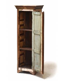 Skriňa z teakového dreva, tyrkysová patina, 45x37x131cm