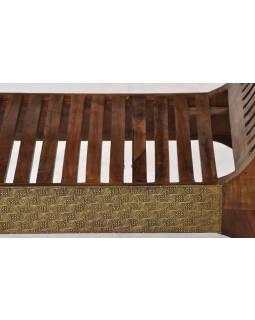 Sedadlo z palisandrového dreva, mosadzné kovania, 117x45x71cm