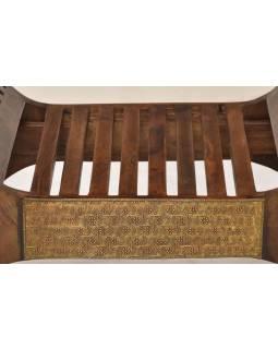 Sedadlo z palisandrového dreva, mosadzné kovania, 72x45x71cm