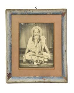 """Starý tlač v ráme, """"SVÄTÝ MUŽ"""", Rajastan, antik, 28x34cm"""