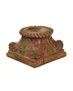 Svietnik vyrobený z hlavice starého teakového stĺpa, 30x30x22cm