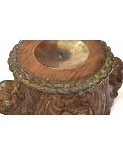 Svietnik vyrobený z hlavice starého teakového stĺpa, 25x25x17cm