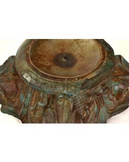 Svietnik vyrobený z hlavice starého teakového stĺpa, 20x20x14cm