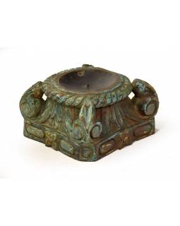 Svietnik vyrobený z hlavice starého teakového stĺpa, 23x23x13cm