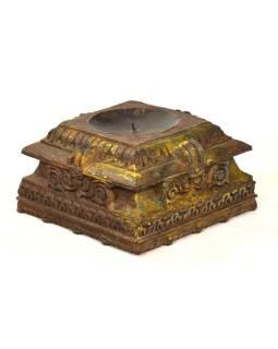 Svietnik vyrobený z hlavice starého teakového stĺpa, 24x24x14cm