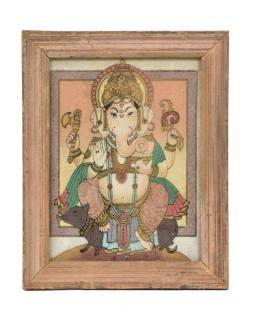 Obrázok v starom drevenom ráme, piesok sypaný na sklo, Ganéša, 19x1x24cm