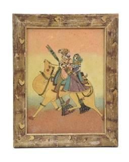 Obrázok v starom drevenom ráme, piesok sypaný na sklo, ťava, 19x24cm
