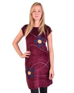 Krátke zamatové vínovej šaty krátkym rukávom, aplikácia farebné kvety