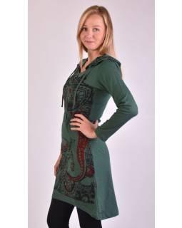 Krátke šaty s dlhým rukávom a kapucňou, zelené, vínovo-čierny potlač Ganesh