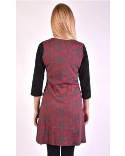 Krátke šaty s 3/4 rukávom, čierno-červené, potlač kvetín